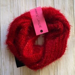 Betsey Johnson red fuzzy cowl infinity scarf NWT